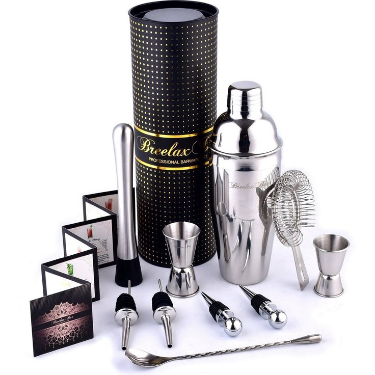 Bar Set - Cocktail Shaker Set - Bartender Kit - Stainless Steel Bar Tools - In Gift Box - for the Best Cocktails - Martini Margarita Mixer - Bartending Tool Set in a Case - Home Bar Accessories