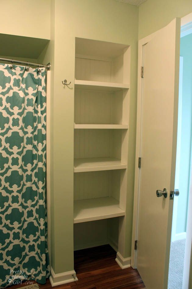 Take the door off our bathroom closet and make it an open-closet-shelf to  put neatly rolled towels, and easy access things for guests!