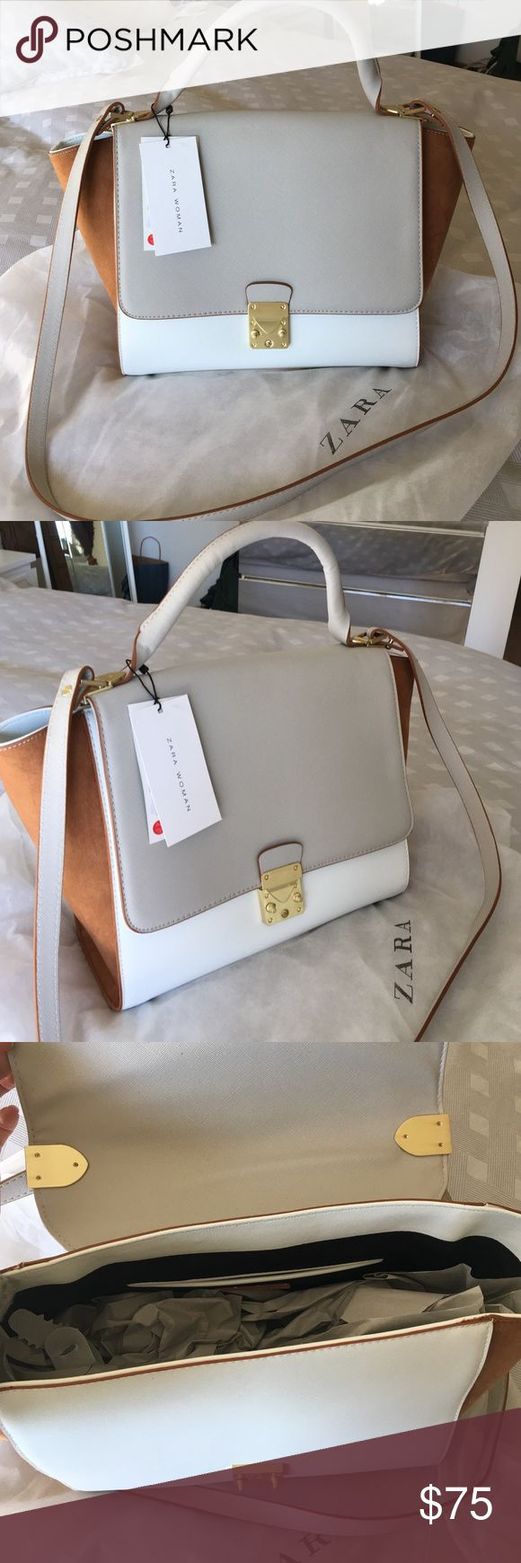 NWT Zara crossbody or shoulder handbag with strap. NWT gorgeous two tones Zara handbag. Can be worn on shoulder and crossbody. Never worn. Zara Bags Crossbody Bags