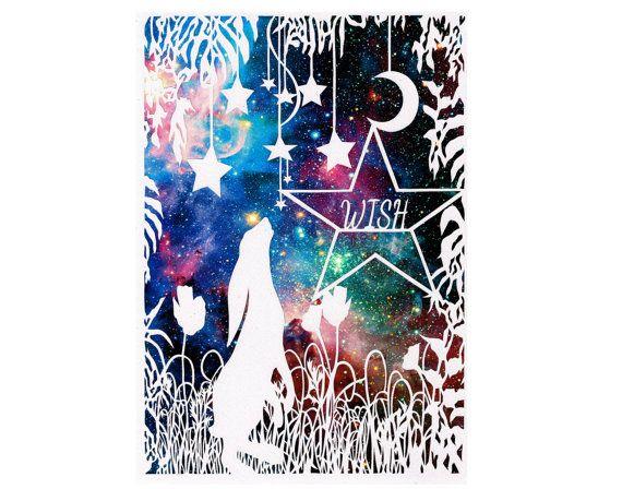 Moon Gazing Hare Papercut Print - Personalized Art - Original Art - Galaxy Art Print