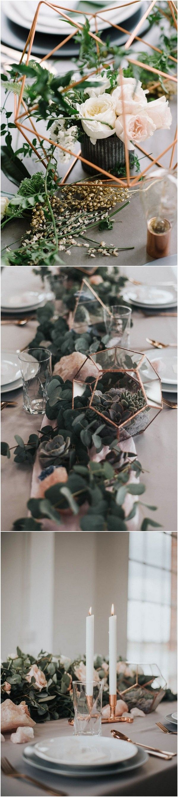 Chic industrial wedding centerpiece ideas