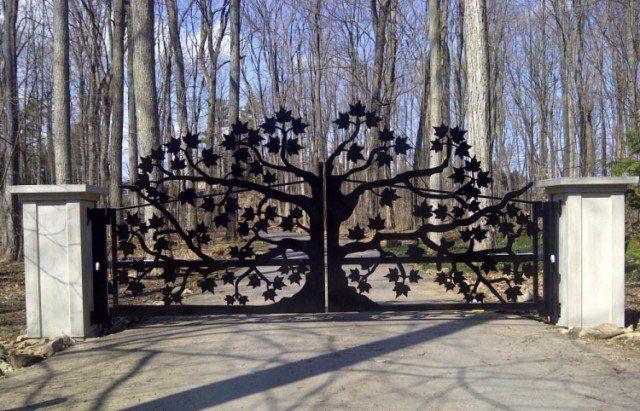 panneau-occultant-clôture-fer-forgé-arbre