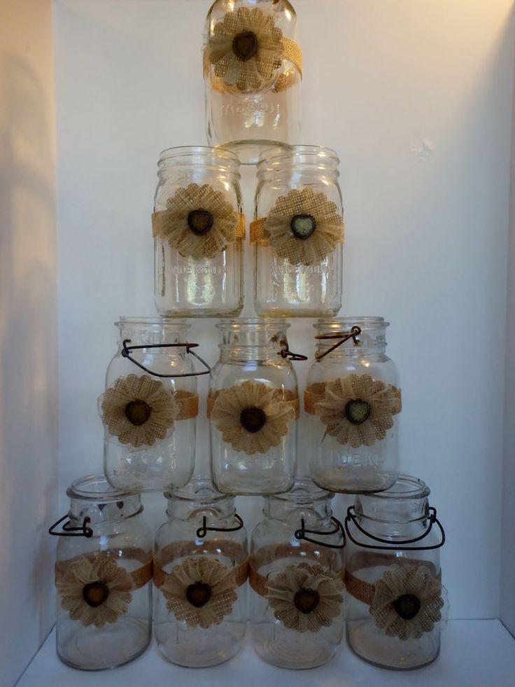 10 Rustic Burlap Gold Wedding 50th Anniversary Mason Jar