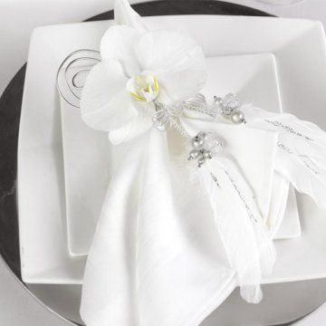 Wedding Napkins; See unique ways to decorate your reception napkins using flowers.  DIY site for brides.  Photos of bridal bouquets, corsages and boutonnieres, centerpieces and much more.