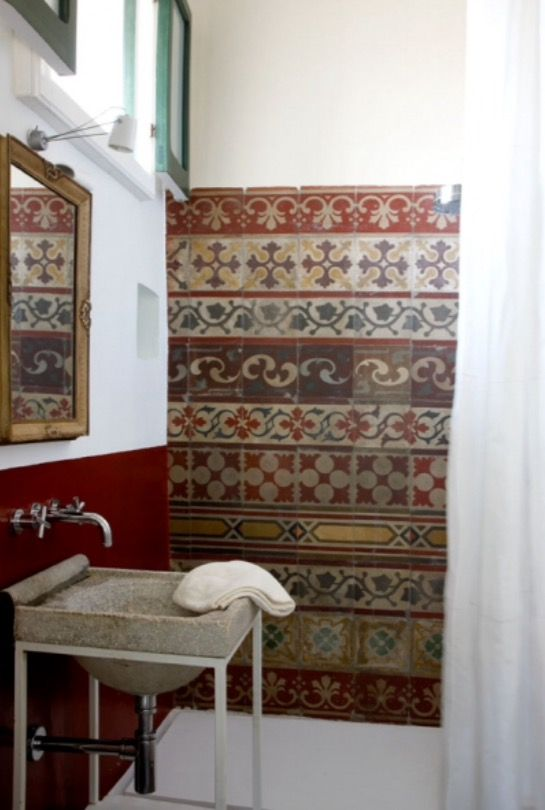 "These amazing bathroom tiles are from our feature ""Rustic Renovation"""
