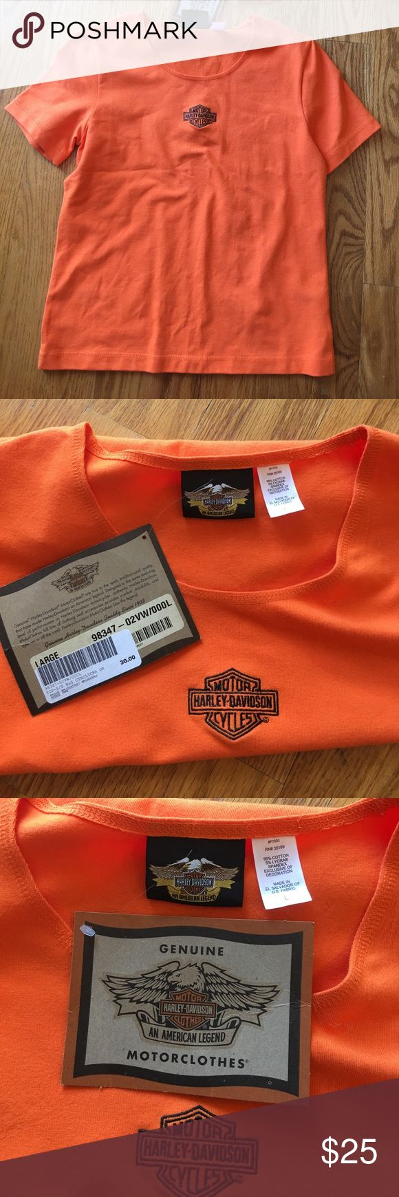 NWT Harley-Davidson woman's short sleeve top NWT woman's Harley-Davidson orange short sleeve top.  Size Large. Smoke free and pet free home. Harley-Davidson Tops Tees - Short Sleeve