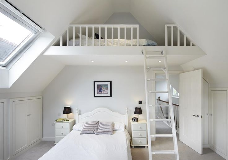 This clever use of space in the bedroom of our new build home creates a second bunkbed within the high period ceilings. How amazing would this space be for children sleepovers?