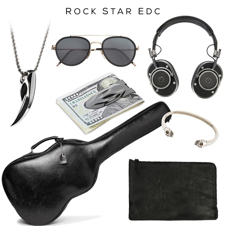 Rock Star EDC - Stairway to StyleAviator Sunglasses by Thom Browne, Headphones by Master & Dynamic, MAKT money clip by @svorndesign, Twin Skull Bracelet by Alexander McQueen, Laptop case by The Last Conspiracy, Python Guitar Case by Saint Laurent, FENRIR pendant by @svorndesign -- #mensaccessories #mensgoods #streetstyle #streetstyleluxe #streetstyles #streetwear #streetwearfashion #urbanstyle #rock #rockmusic #mensjewelry #jewelryformen #badass #mensfashion #mensfashionstyle #streetfashion