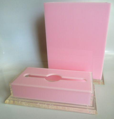 1960s Lucite Mid Century Pretty Pink 2 PC Set Wastebasket Tissue Box Holder | eBay