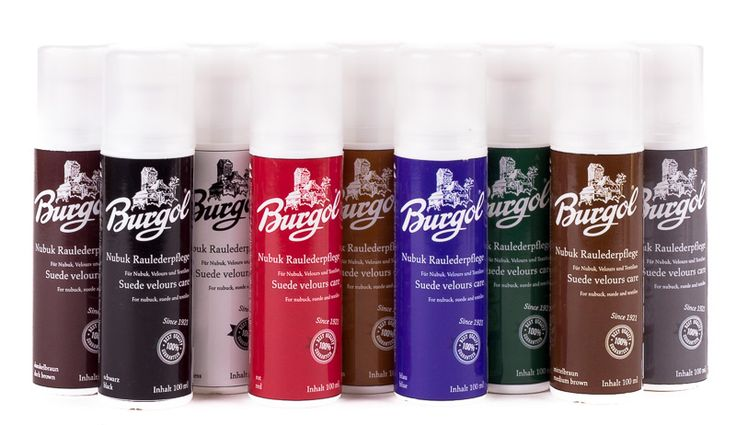Burgol Nubuk- und Wildlederpflege erhältlich in 8 Farben + farblos bei den Händlern auf www.schuhpflege-online.de ab 15. Januar 2015