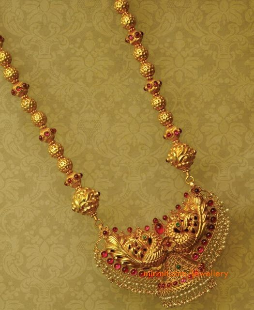 gold beads necklace from anmol jewellers