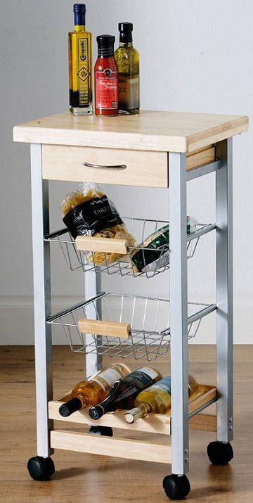 Movable Kitchen Storage Trolley Fruit Vegetable Cart With Drawer / Basket / Rack   eBay