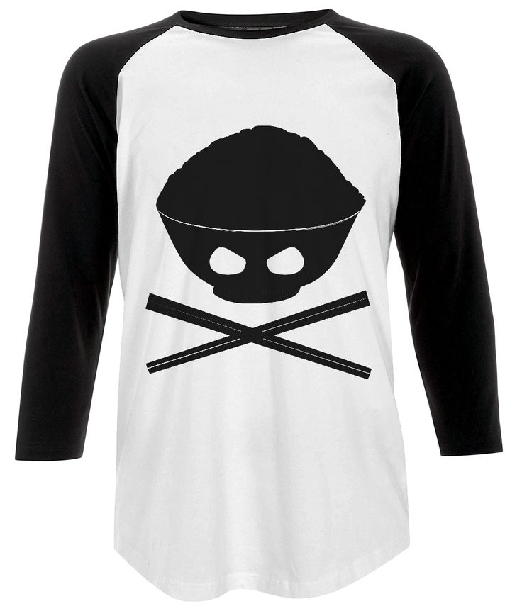 Unisex Baseball T-shirt Skull Rice Bowl