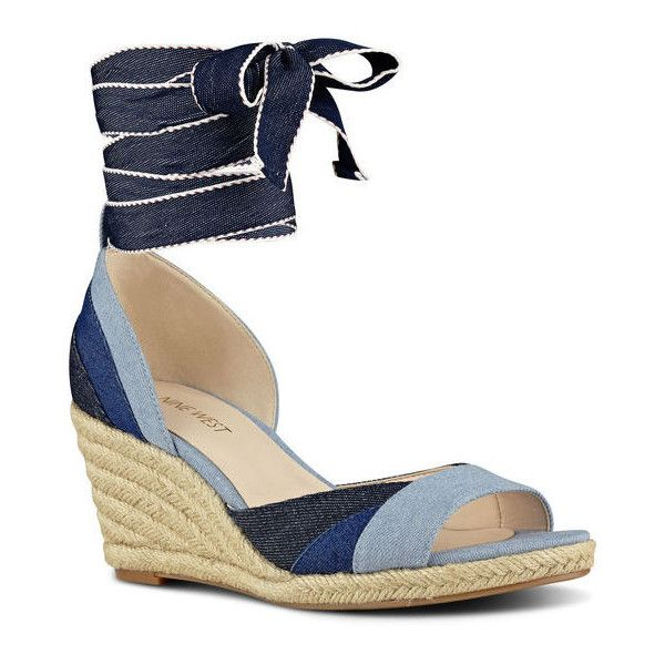 Nine West Jaxel Open Toe Wedge Sandal ($60) ❤ liked on Polyvore featuring shoes, sandals, navy multi denim, denim wedge sandals, navy wedge espadrilles, navy sandals, navy blue sandals and wedge espadrilles
