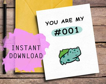 Cool Pokemon, Cute Card, Valentines Day Card, Best Friend, For Her, For Him, Special Card, Geeky Card, Awesome Card, Digital Download