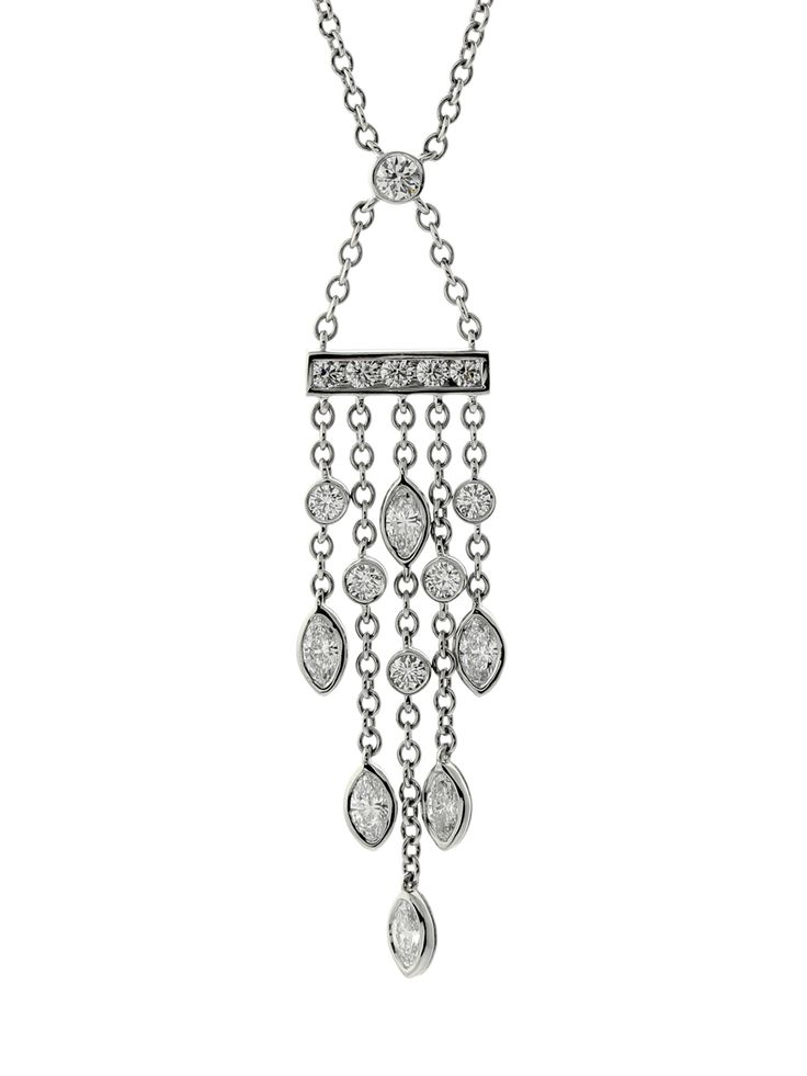 A luxurious Tiffany & Co necklace featuring the finest Tiffany & Co round brilliant cut diamonds mixed with marquise diamonds set in platinum.
