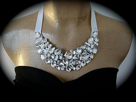 Bib Necklace Bridesmaid Statement Necklace   http://www.the-crystal-rose.com