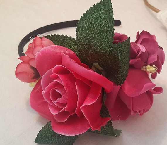 Boho chic wedding, Flower crown, Romantic flower crown, Wedding crown, Boho-Chic hair crown, Ivory and pink wedding crown, bridal shower gift by GalitDesigns