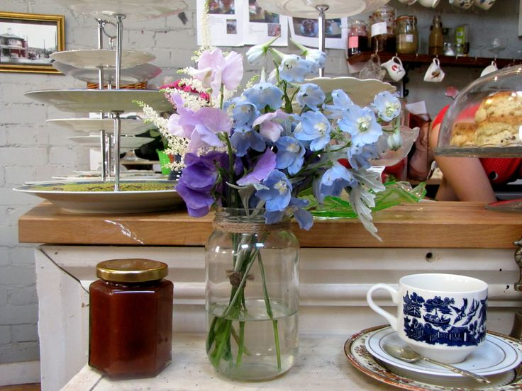 Delphinium, Sweetpea and Astilbe shelf decoration