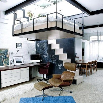 What a beautiful way to wake up! This ultra modern apartment features a suspended bed as a great space saving idea and central design feature. The glass roof is retractable, allowing the outdoors in and providing a natural source of light.