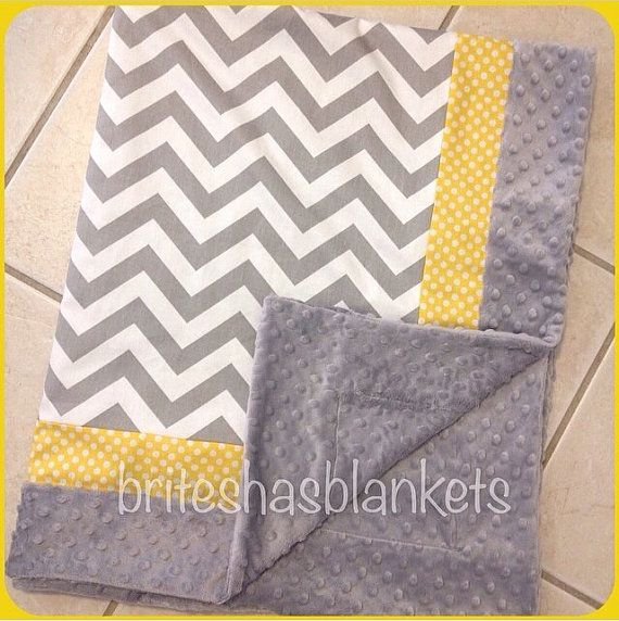 Grey chevron yellow dot trim and grey minky dot by SnugglyLilBabes