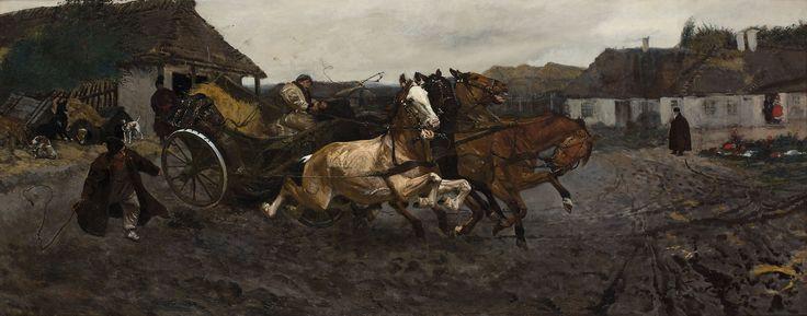 JÓZEF CHEŁMOŃSKI (1849 - 1914)   PRÓBA CZWÓRKI - 1878
