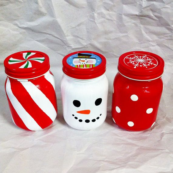 Hand Painted Holiday Mason Jars van ChristysCreations000 op Etsy
