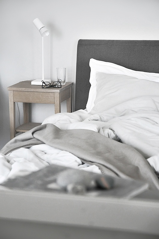 white and grey in bedroom