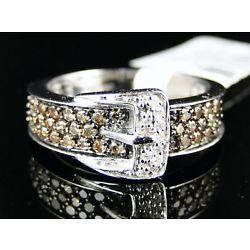 14k Damas Marrón único diamante Hebilla Anillo 1/2 Ct
