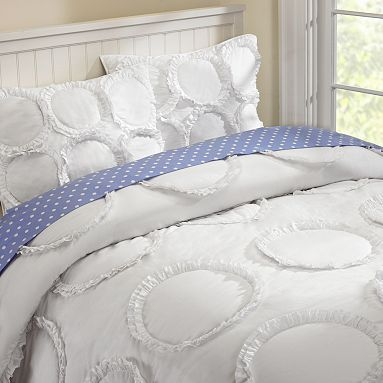 Pottery Barn Teen Kids White Ruffle Rings Bed Cover Quilt