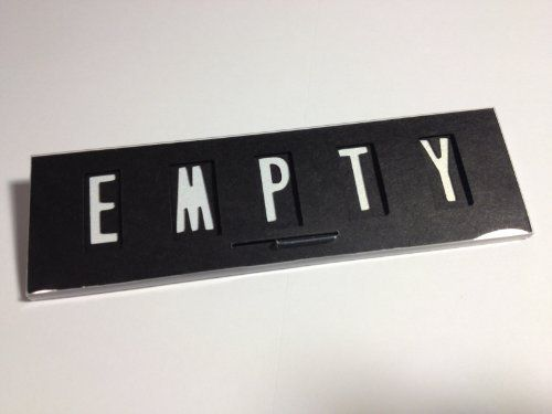 """""""EMPTY / In USE"""", Door Sign with permanent mounting tape, Black by DishwasherSign. $7.99. Great for any area that is high traffic or in need of privacy.. Changes from """"EMPTY"""" to """"In USE"""" with a flick of the switch.. Size: 4¼inch wide x 1¼ inch tall x 1/8inch thick.. Discreet yet remains visible.. Mounting tape on the back.. This sign changes from EMPTY to In USE with a flick of the switch on the front. There is permanent mounting tape on the back for a secure stick..."""