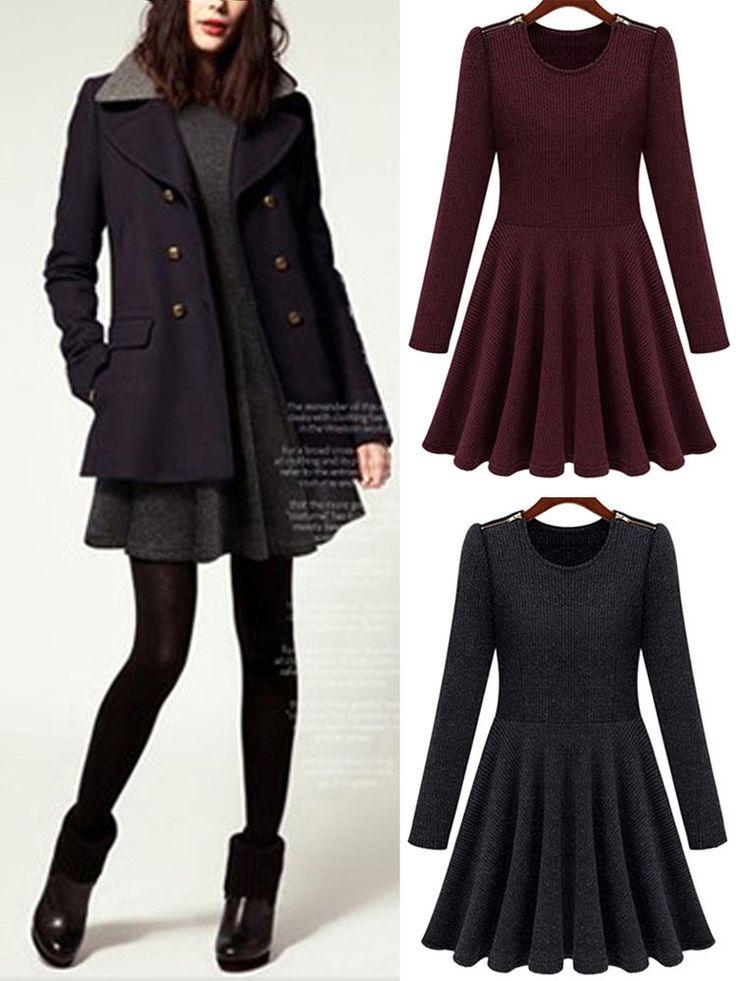 Korean Fashion Women Autumn Round Neck Long Sleeve Slim Thin Skater Short Dress