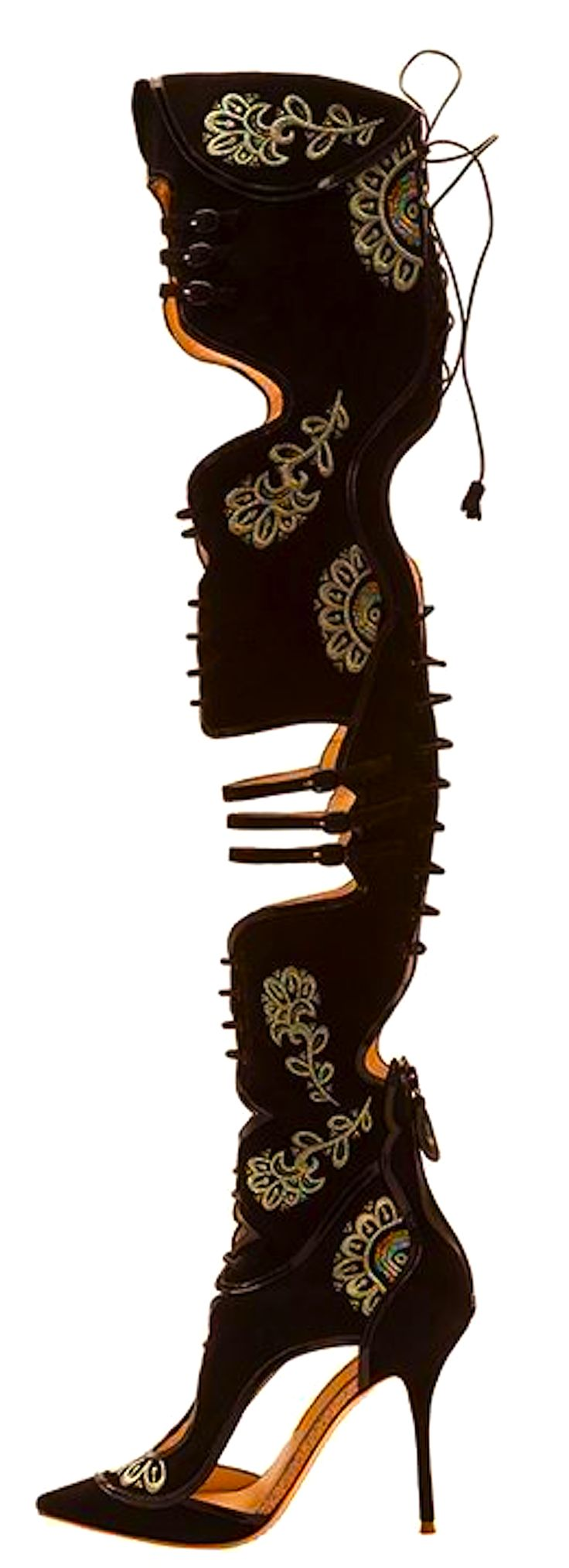 Sophia Webster - black and gold cut out medieval boots - i would feel like a sexy muskateer in these