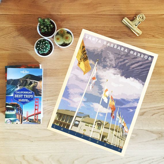 Santa Barbara Harbor. Giclée Print, Retro Style, Travel Poster, Mid Century…