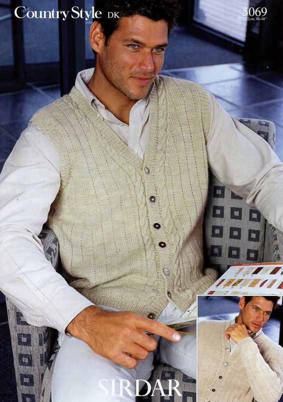 Sirdar 5069 Men's Cardigan and Waistcoat/Vest in Sirdar Country Style DK (#3 Weight Yarn)