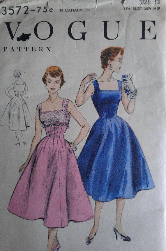 Vintage 50er Jahre quadratischen Ausschnitt von VtgFashionLibrary
