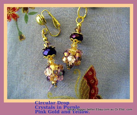 Check out this item in my Etsy shop https://www.etsy.com/au/listing/102161405/earrings-in-crystal-of-pink-gold-purple