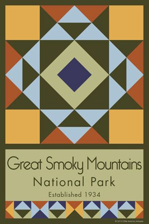 Great Smoky Mountains National Park Quilt Block designed by Susan Davis. Susan is the owner of Olde America Antiques and American Quilt Blocks She has created unique quilt block designs to celebrate the National Park Service Centennial in 2016. These are the first quilt blocks designed specifically for America's national parks and are new to the quilting hobby.