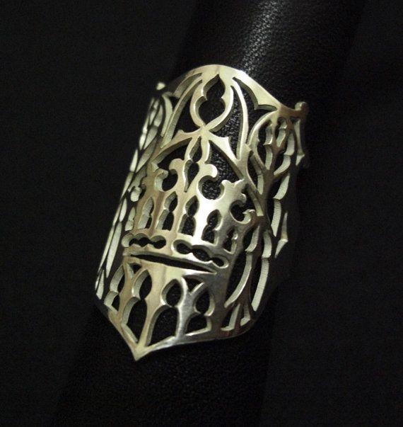 Sterling Silver Full Finger Ring Medieval by SkadiJewellery