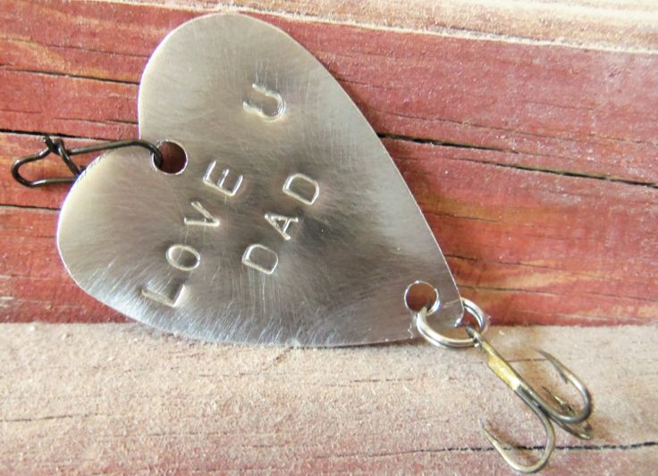 Father 39 S Day Love U Dad Handstamped Metal Heart Fishing