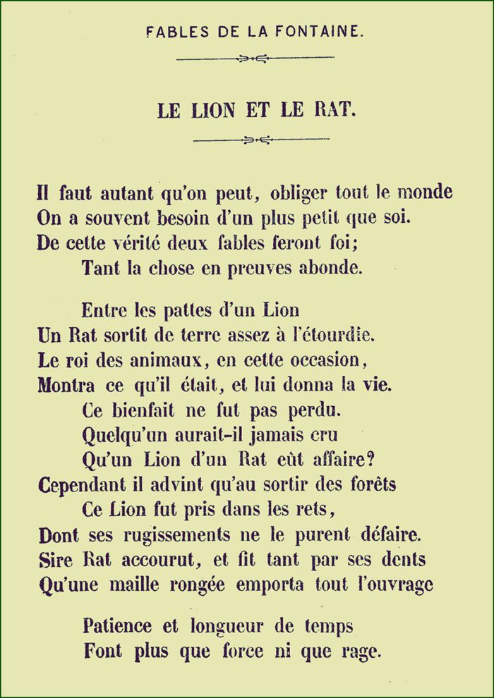Le Lion Et Le Rat La Fontaine : fontaine, Fontaine, French, Language, Lessons,, Sentences,, Learn