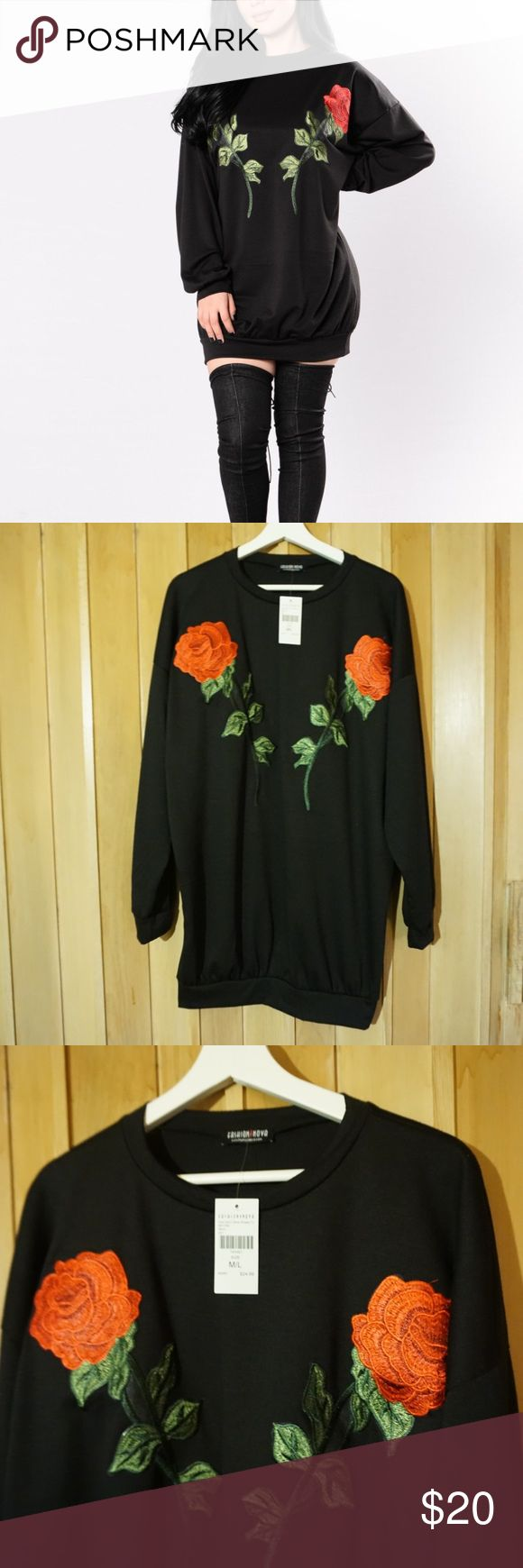 """And Don't Send Roses"" Tunic by Fashion Nova NWT, never worn!  Photos make the flowers seem more orange than red :(   Long Sleeve Tunic Mini Dress Rose Embroidery Made in USA 87% Polyester 9% Rayon 4% Spandex Fashion Nova Tops Tunics"