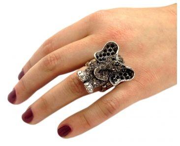 Elefanten Ring Schwarz Silber