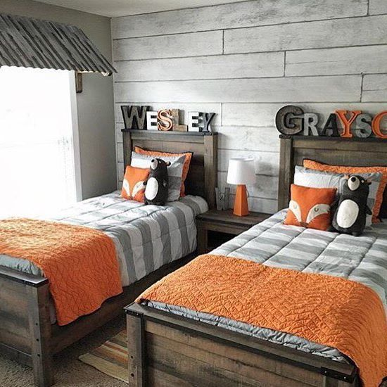 Love the wall behind the beds! Maybe wallpaper? We just had to share how @coastalcraftymama complemented our #Trinell twin beds with @shanty2chic's DIY rustic metal window awning in her boys' room! #regram