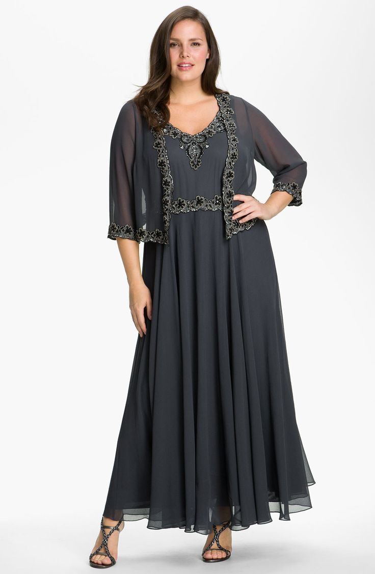 Free shipping and returns on J Kara Beaded Chiffon Gown & Jacket (Plus Size) at Nordstrom.com. Shimmering silver jet beads that edge a sheer cropped jacket echo the beaded bodice of a flowing gown that swirls richly in steely gray chiffon.