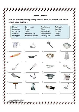 This is a matching activity. Students match the name of the kitchen utensil to its picture. - ESL worksheets