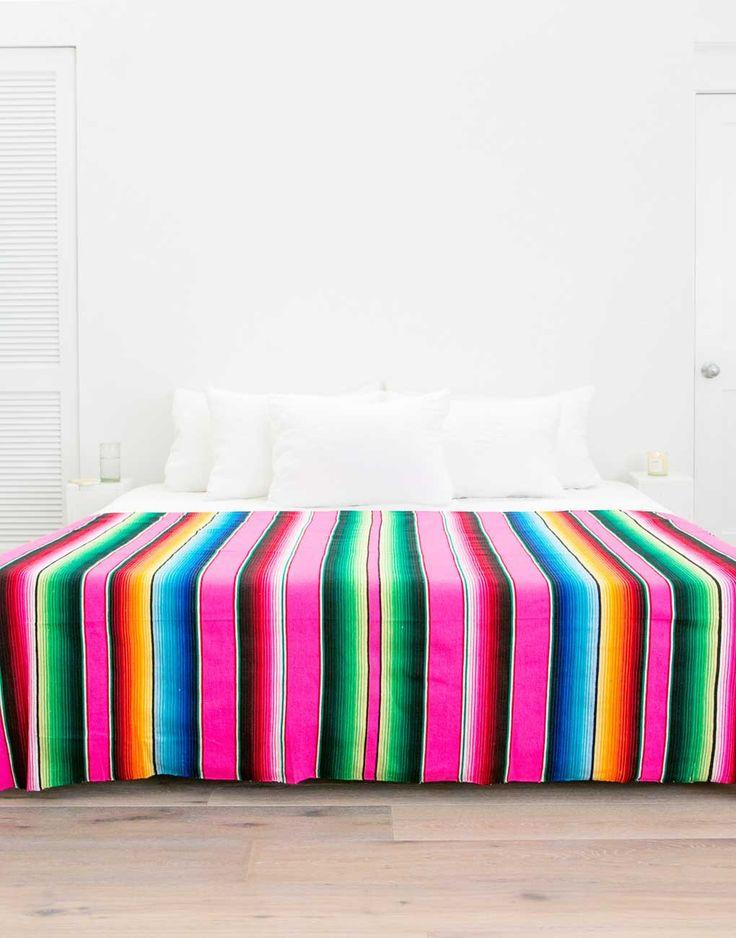 Fair Trade Handwoven Rainbow Mexican Serape