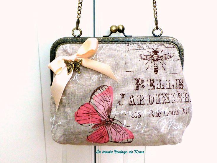 Bolso con boquilla -romantic butterflies - de La Tienda Vintage de Kima por DaWanda.com