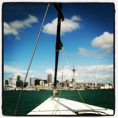 Cool photo of Auckland with Shed 23 on the left taken onboard an America's Cup sailing boat (from One Jump Ahead)