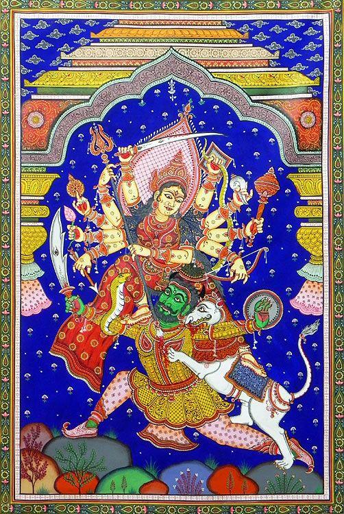 Durga Slaying Demon Mahishasura (Orissa Paata Painting on Tussar Silk - Unframed))